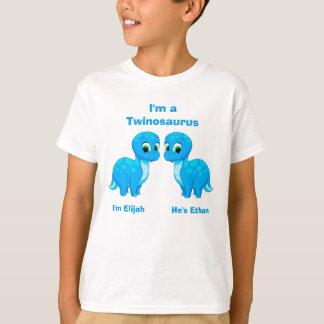 Muchachos lindos del gemelo del dinosaurio del camiseta