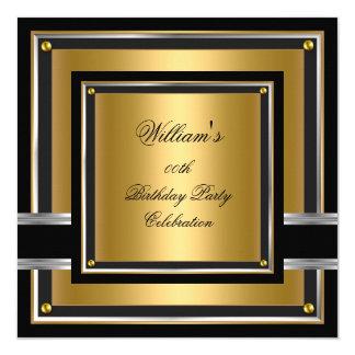 Muchachos para hombre negros elegantes de la invitación 13,3 cm x 13,3cm