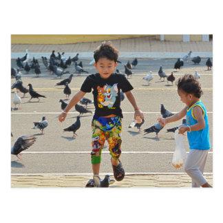 Muchachos que alimentan palomas postal