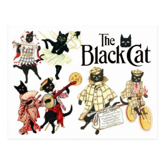 Muchas caras del gato negro postal