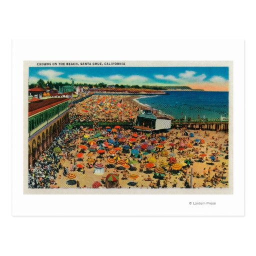 Muchedumbres en la playa, Santa CruzSanta Cruz, CA Postal