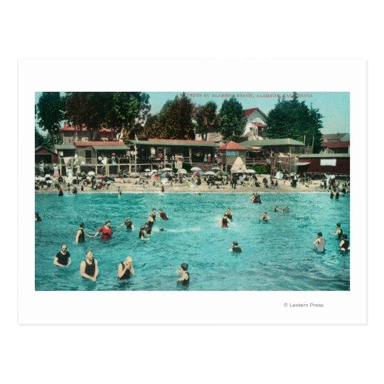 Muchedumbres que nadan en Alameda BeachAlameda, CA Postal