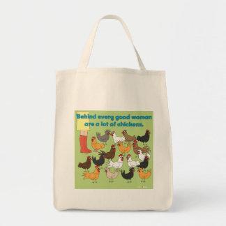 Mucho bolso de ultramarinos del pollo bolsa tela para la compra