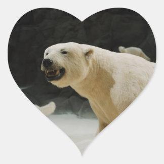Mueca del oso polar pegatina en forma de corazón