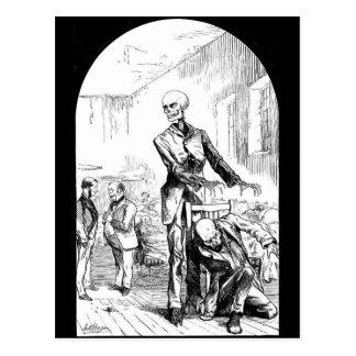 Muerte como el guarda real de la postal pobre