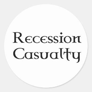 Muerte de la recesión etiqueta redonda