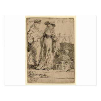 Muerte que aparece a un par casado de Rembrandt Postal