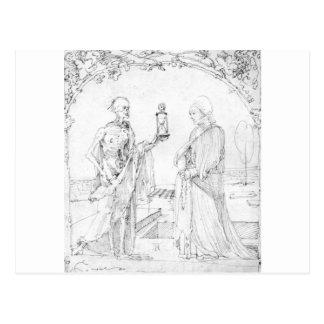 Muerte y esposa de Albrecht Durer Postal