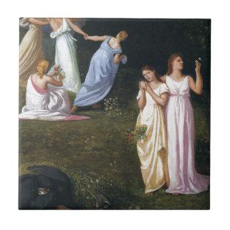 Muerte y las doncellas de Pedro Puvis de Chavannes Azulejo Cuadrado Pequeño