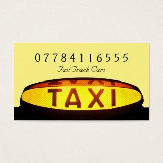 Muestra amarilla del taxi tarjeta de negocios