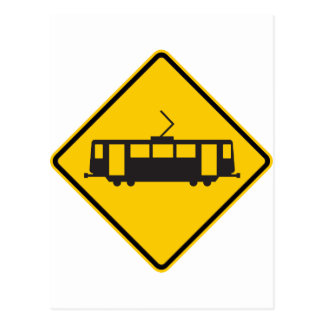 Muestra amonestadora de la carretera del tranvía tarjeta postal