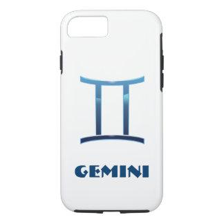 Muestra azul del zodiaco de los géminis en blanco funda iPhone 7