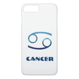 Muestra azul del zodiaco del cáncer en blanco funda iPhone 7 plus