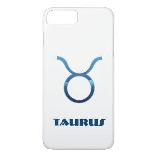 Muestra azul del zodiaco del tauro en blanco funda iPhone 7 plus