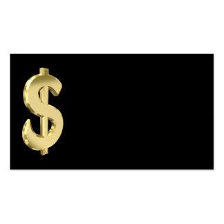 Muestra de dólar de oro tarjetas de visita