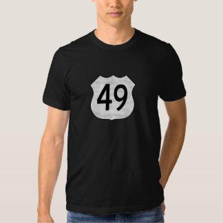 Muestra de la ruta de la carretera 49 camiseta
