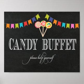 Muestra de la tabla de comida fría del caramelo - póster