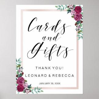 Muestra de las tarjetas y de los regalos de la póster