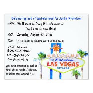 Muestra de Las Vegas de la despedida de soltero Invitación 10,8 X 13,9 Cm