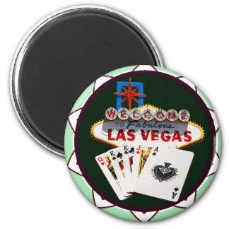 Muestra de Las Vegas y ficha de póker de las tarje Imán Redondo 5 Cm