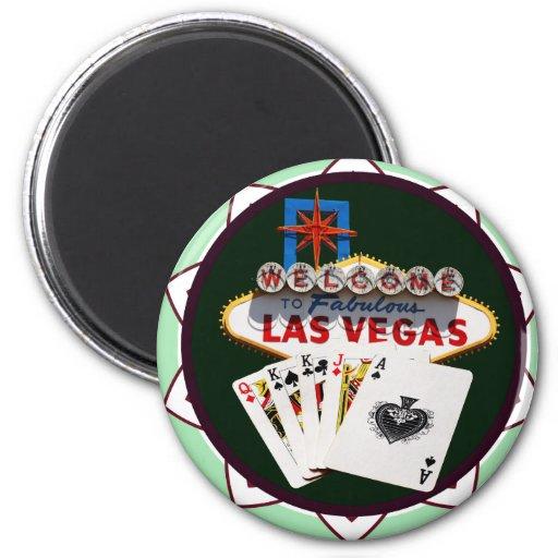 Muestra de Las Vegas y ficha de póker de las tarje Iman De Nevera