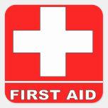 Muestra de los primeros auxilios del rojo pegatinas cuadradas personalizadas
