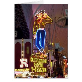 Muestra de neón Las Vegas del vaquero Tarjeta De Felicitación