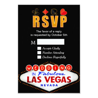 Muestra de RSVP Las Vegas que casa la tarjeta de Invitación 8,9 X 12,7 Cm