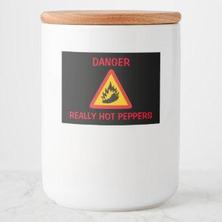 Muestra del peligro del pimiento picante etiqueta para comida