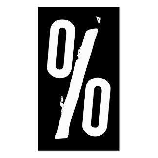 muestra del por ciento blanco y negro del grunge tarjetas de visita