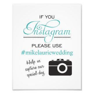 Muestra del poster del boda de Instagram - Impresion Fotografica
