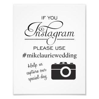 Muestra del poster del boda de Instagram - negro Impresiones Fotográficas