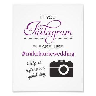 Muestra del poster del boda de Instagram - púrpura Fotos