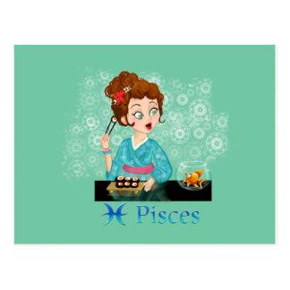 Muestra del zodiaco de Piscis del horóscopo de la  Tarjetas Postales