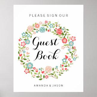 Muestra el | el | floral del boda del libro de póster