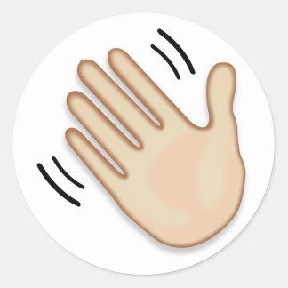 Muestra Emoji de la mano que agita Pegatina Redonda