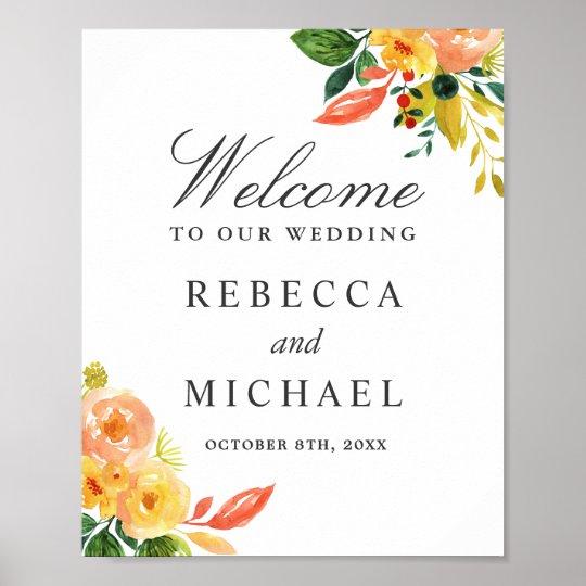 Muestra floral del boda del melocotón del otoño de póster