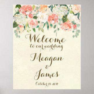 muestra floral del poster de la recepción del boda póster