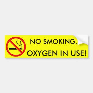 Muestra funcionando del oxígeno de no fumadores etiqueta de parachoque