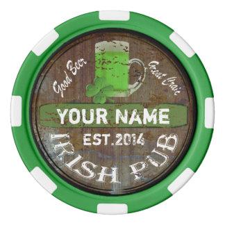 Muestra irlandesa personalizada del Pub Fichas De Póquer