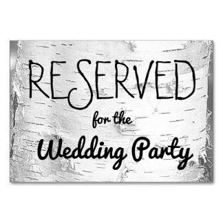 Muestra reservada del boda del árbol de abedul tarjeta