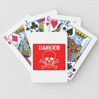 Muestra roja del peligro baraja de cartas bicycle