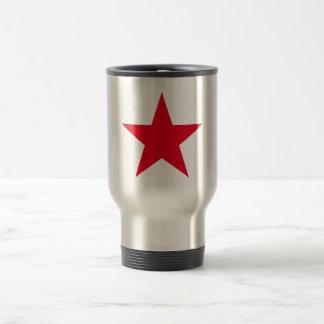 Muestra roja del símbolo de la estrella de la taza de viaje
