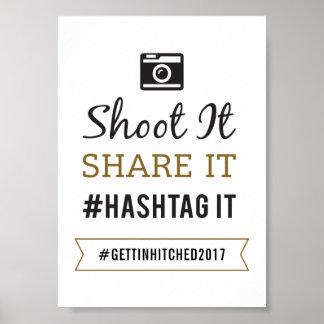 Muestra rústica simple de 5x7 que se casa Hashtag Póster