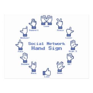 Muestra social de la mano de la red postal