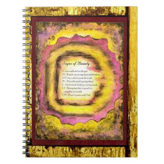 Muestras de la belleza cuaderno