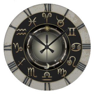 Muestras del zodiaco reloj redondo grande
