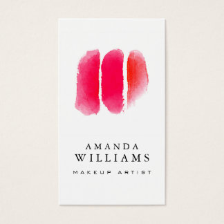 Muestras rojas del artista de maquillaje de la tarjeta de negocios