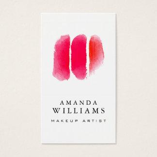 Muestras rojas del artista de maquillaje de la tarjeta de visita