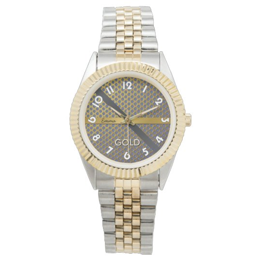 "Muestre unisex con pulsera 2 tonos, ""GOLD "" Reloj"